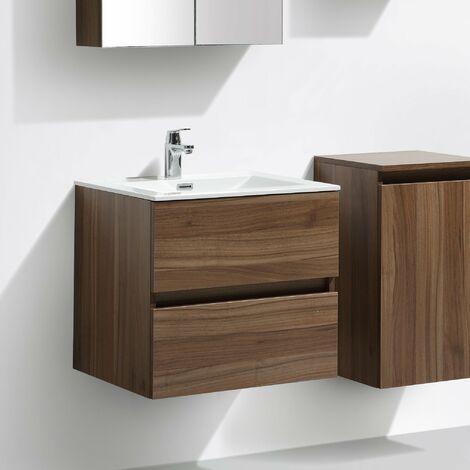 Meuble salle de bain design simple vasque SIENA largeur 60 cm, blanc laqué
