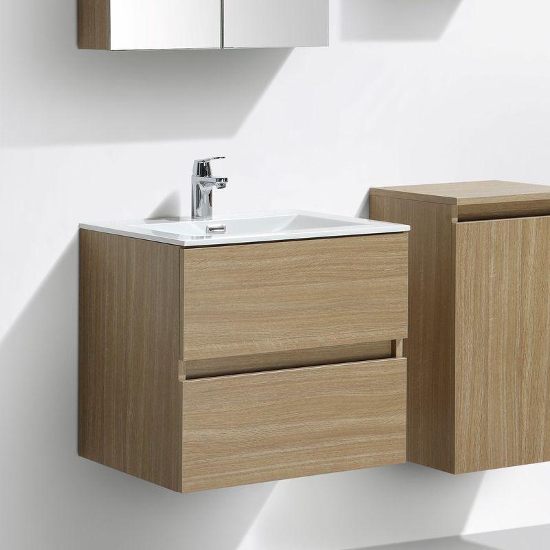 Meuble salle de bain design simple vasque SIENA largeur 60 cm, chêne clair