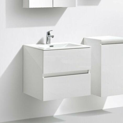 Meuble salle de bain design simple vasque SIENA largeur 60 cm chêne clair texturé - Marron
