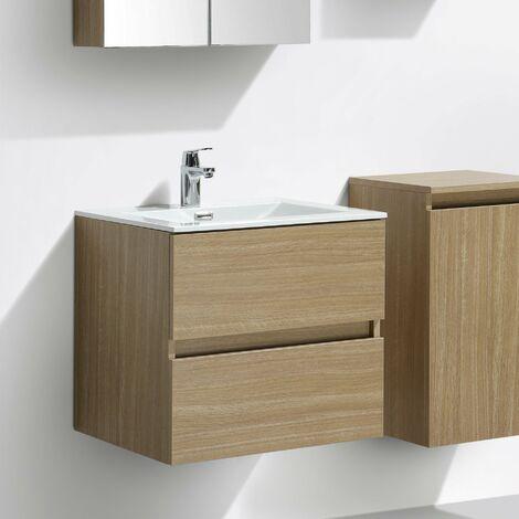 Meuble salle de bain design simple vasque SIENA largeur 60 cm noyer - Marron