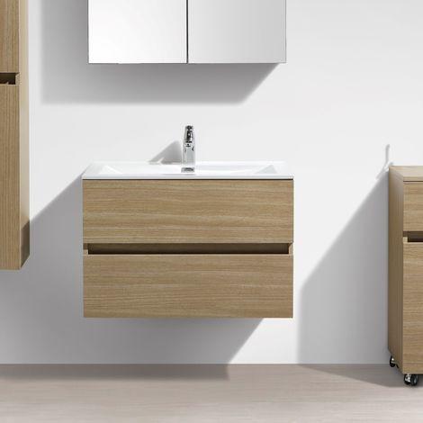 Meuble Salle De Bain Design Simple Vasque Siena Largeur 80 Cm Chêne
