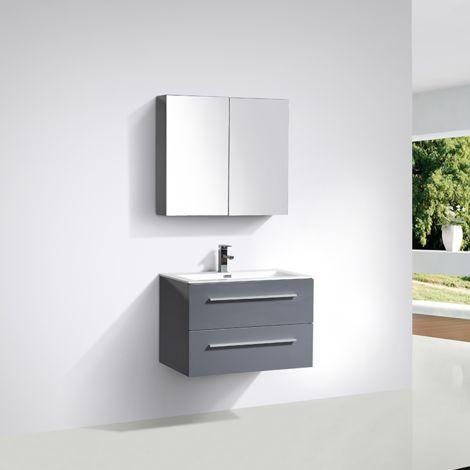 Meuble salle de bain design simple vasque SIENA largeur 80 cm gris laqué - Gris