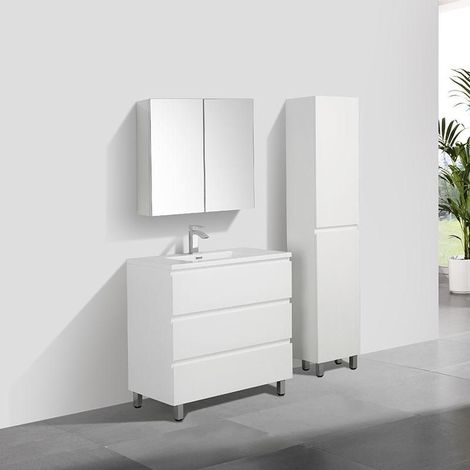 Meuble salle de bain design simple vasque VERONA largeur 90 cm blanc laqué - Blanc