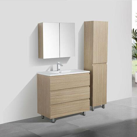 Meuble salle de bain design simple vasque VERONA largeur 90 cm chêne clair - Beige