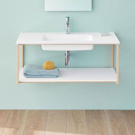 Meuble salle de bain design suspendu UNO METAL avec plan vasque