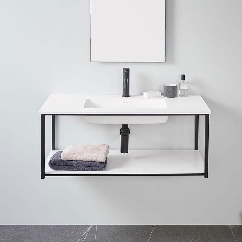 Meuble salle de bain design suspendu uno metal avec plan - Meuble salle de bain avec lavabo ...