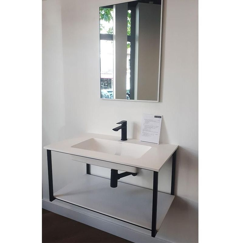 Meuble salle de bain design suspendu UNO METAL avec plan vasque, noir