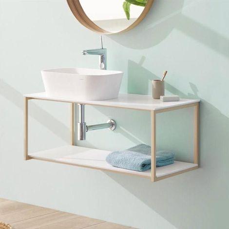 Meuble salle de bain design suspendu UNO METAL pour vasque à poser