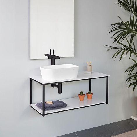 Meuble salle de bain design suspendu UNO METAL pour vasque à poser, noir