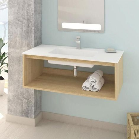 Meuble salle de bain design suspendu UNO WOOD avec plan vasque
