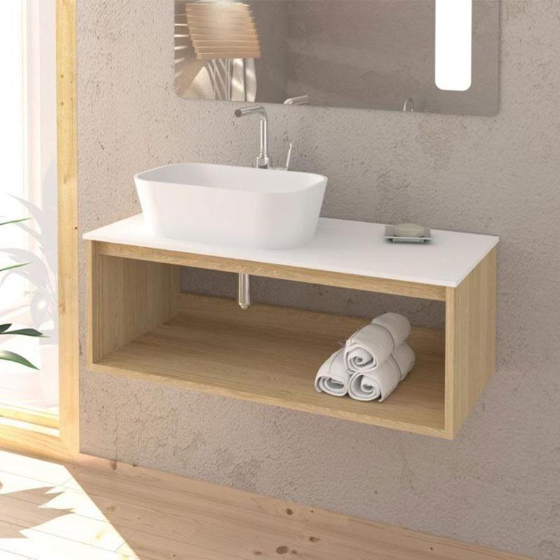 Meuble salle de bain design suspendu uno wood pour vasque poser 80 cm ms080mr enc03080ss encmec - Meuble salle de bain pour vasque a poser ...