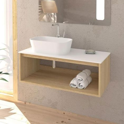 Meuble salle de bain design suspendu UNO WOOD pour vasque à poser