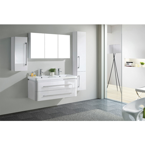 Meuble salle de bain double vasque 119 cm, 2 colonnes, NOA ...