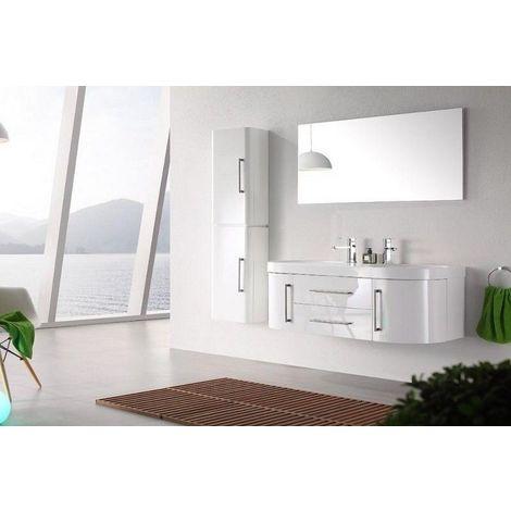 Meuble salle de bain double vasque 120 cm, 1 colonne, MIA BLANC -