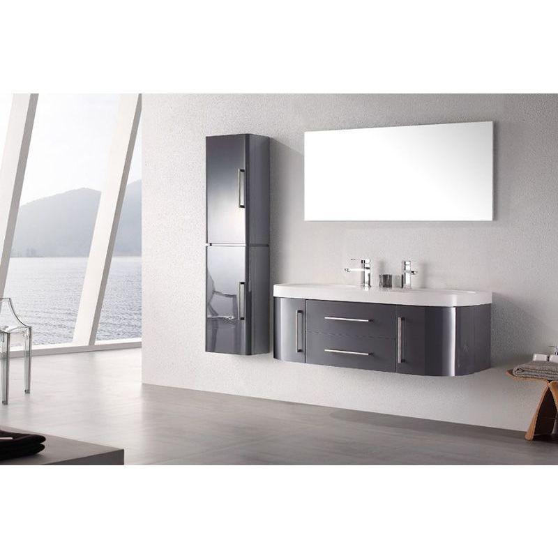 Meuble salle de bain double vasque 120 cm, 1 colonne, MIA GRIS -