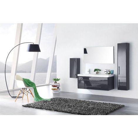 Meuble salle de bain double vasque 120 cm, 2 colonnes, EMY GRIS
