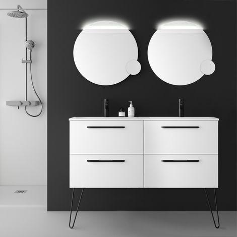 Meuble salle de bain double vasque 120 cm à suspendre couleur blanc avec poignets et pieds noirs - So matt