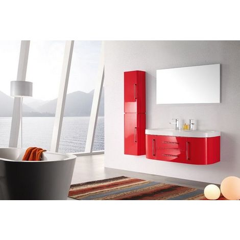 Meuble salle de bain double vasque 120 cm avec colonne, MIA ROUGE -