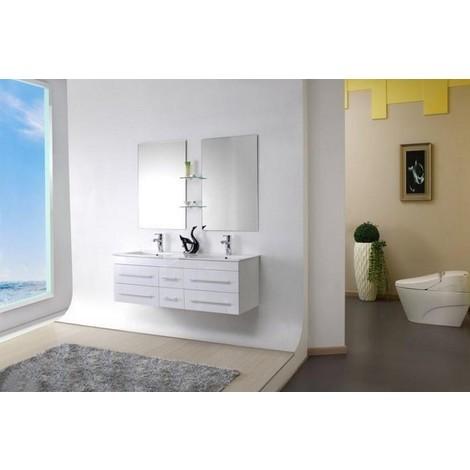 Meuble salle de bain double vasque 140 cm, SAM BLANC