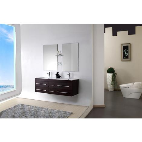Meuble salle de bain double vasque 140 cm, SAM WENGE