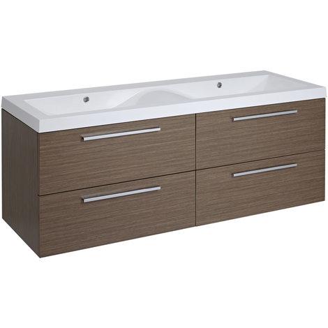 Meuble salle de bain double vasque 140x51x55cm Langley Chêne
