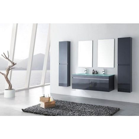 Meuble salle de bain double vasque 142 cm, 2 colonnes, LEA GRIS