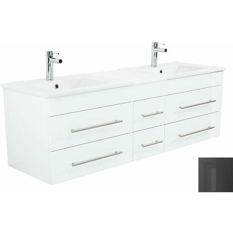 Meuble salle de bain double vasque Milano XL 172cm anthracite métallique