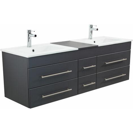 Meuble salle de bain double vasque Milano XL 172cm anthracite satiné