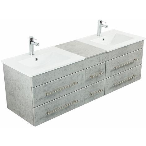 Meuble salle de bain double vasque Milano XL 172cm Aspect Béton