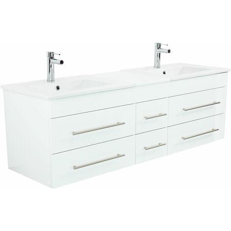 Meuble salle de bain double vasque Milano XL 172cm blanc brillant