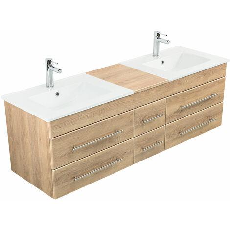 Meuble salle de bain double vasque Milano XL 172cm décor chêne