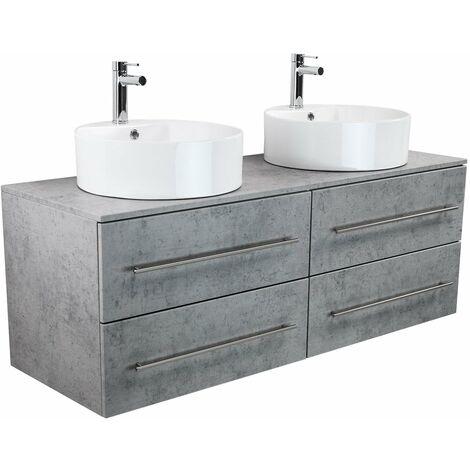 Meuble salle de bain double vasque Novum XL Aspect Béton avec vasque à poser