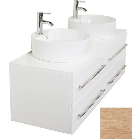 Meuble salle de bain double vasque Novum XL décor chêne avec vasque à poser