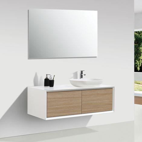 Meuble salle de bain double vasque PALIO 120 cm, blanc / chêne clair