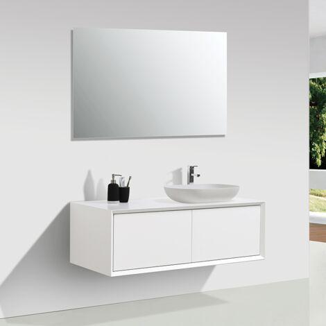 Meuble salle de bain double vasque PALIO 120 cm blanc mat - Blanc