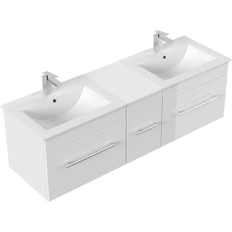 Meuble salle de bain double vasque Roma blanc brillant