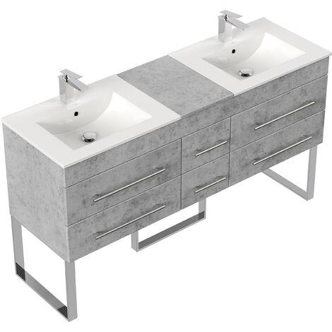 Meuble salle de bain double vasque Roma XL Aspect Béton à poser