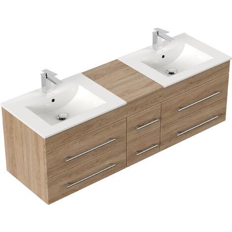 Meuble salle de bain double vasque Roma XL décor chêne