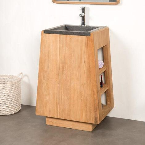 Meuble salle de bain en teck avec vasque intégrée TIPI 65 cm