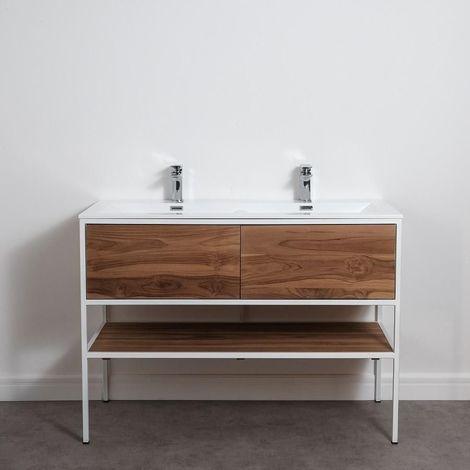 Meuble salle de bain FACTORY en teck et métal blanc 120 cm avec plan-vasque - Blanc