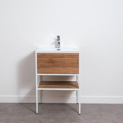 Meuble salle de bain FACTORY en teck et métal blanc 60 cm avec plan-vasque - Blanc