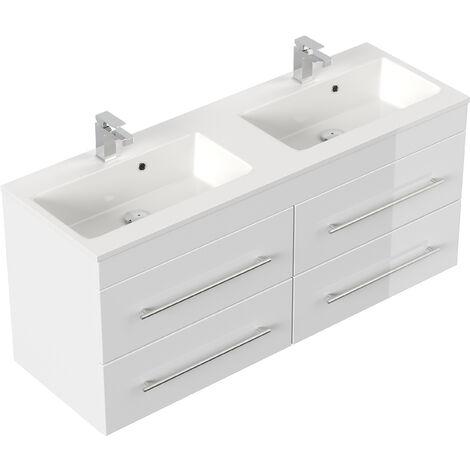 Meuble salle de bain Firenze 140 en blanc brillant