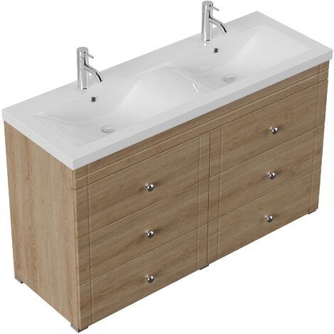 Meuble salle de bain Gallo classique décor chêne à poser
