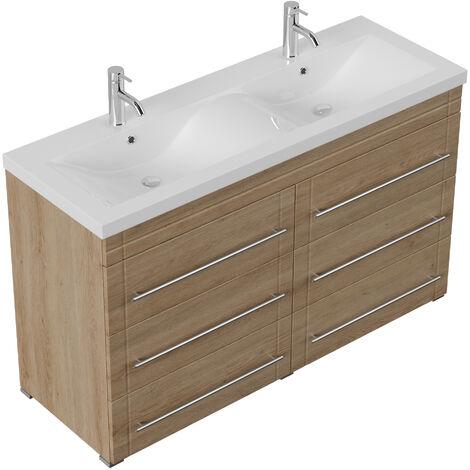 Meuble salle de bain Gallo moderne décor chêne à poser