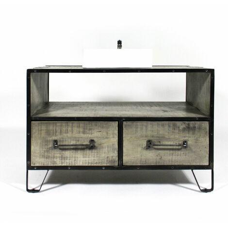 Meuble salle de bain industriel gris 2 tiroirs - grand modèle - Bois
