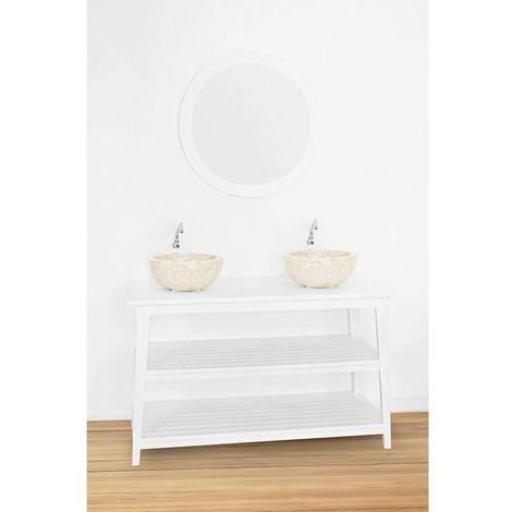 Meuble salle de bain KANPUR en teck blanc 120 cm