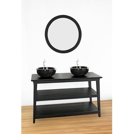 Meuble salle de bain KANPUR en teck noir 120 cm