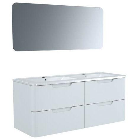 Meuble salle de bain L 120 - 2 tiroirs + vasque - Blanc - RONDO