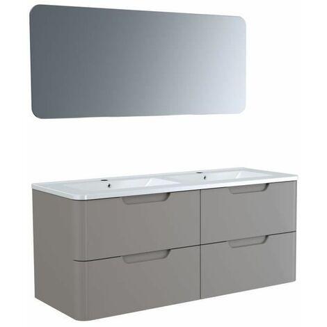 Meuble salle de bain L 120 - 2 tiroirs + vasque - Taupe - RONDO