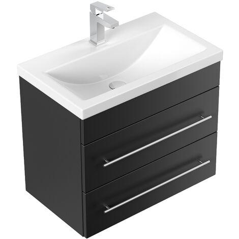 Meuble salle de bain Mars 600 SlimLine noir satiné